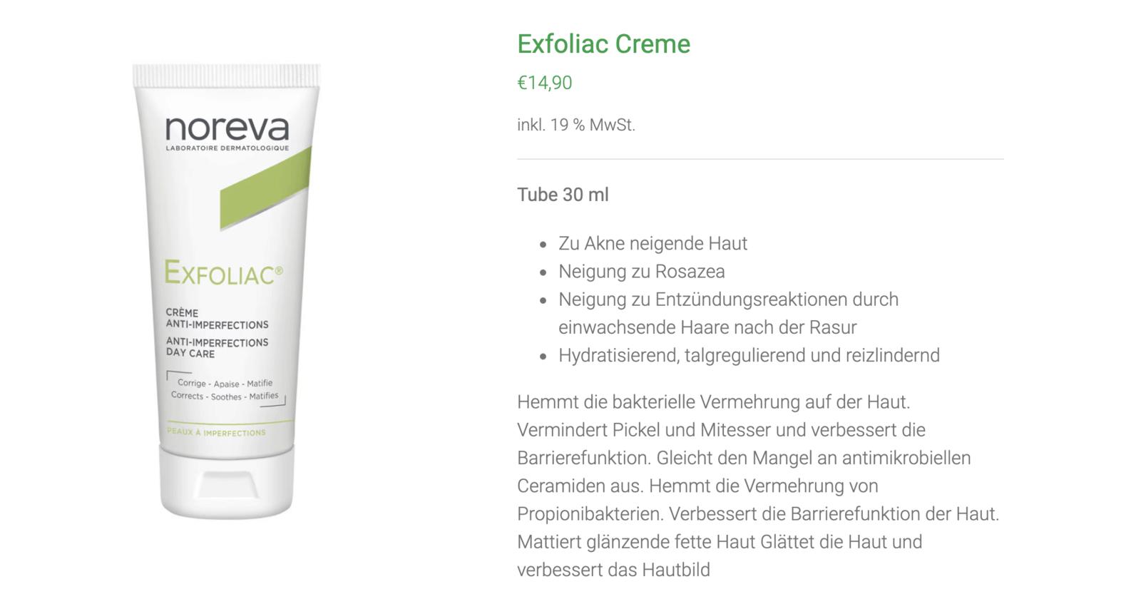 Noreva Akne Produkte
